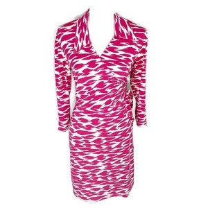 Laundry by Design pink abstract animal wrap dress